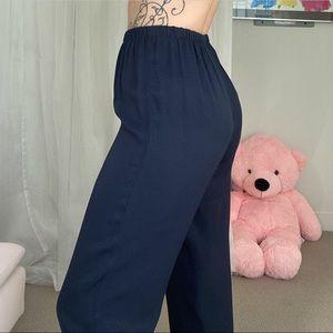 Vintage Casual Navy Blue Pants